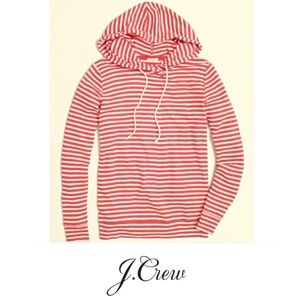 J. Crew Factory Hoodie Small Orange White Stripes